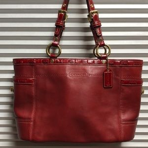 Coach Red Leather Tote Shopper Bag 11229